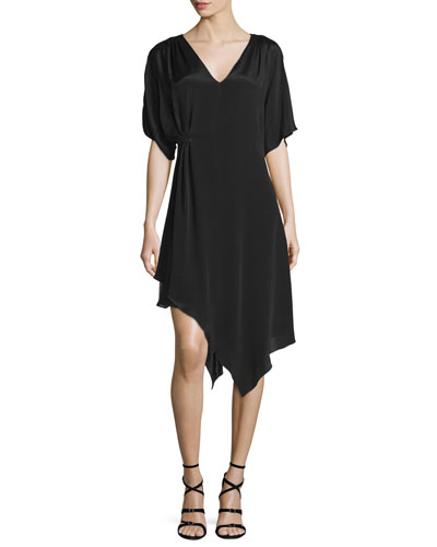 Geena Asymmetric V-Neck Dress, Black