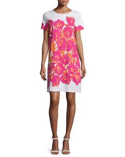 Short-Sleeve Floral-Print Pique Dress