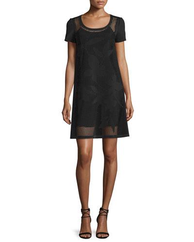 Lasered Floral Grid Dress, Black
