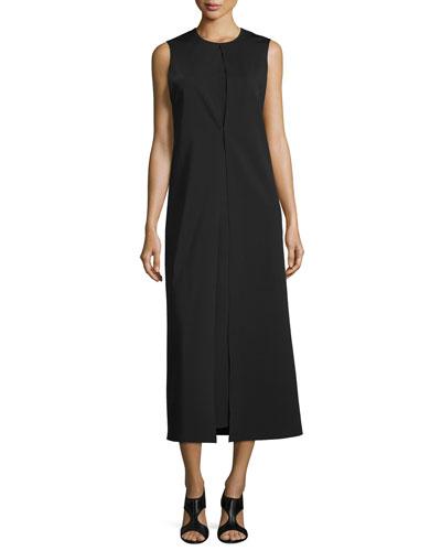 Split-Front Midi Dress, Black