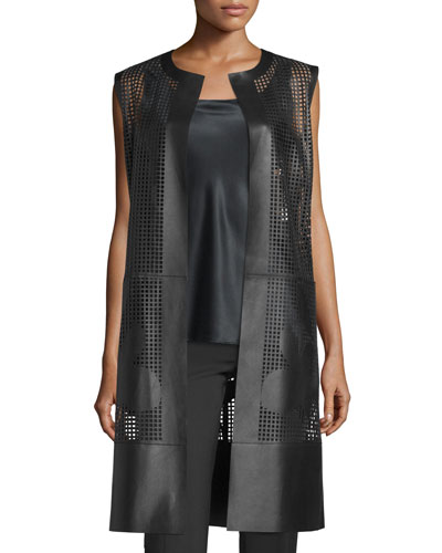 Faye Laser-Cut Leather Long Vest