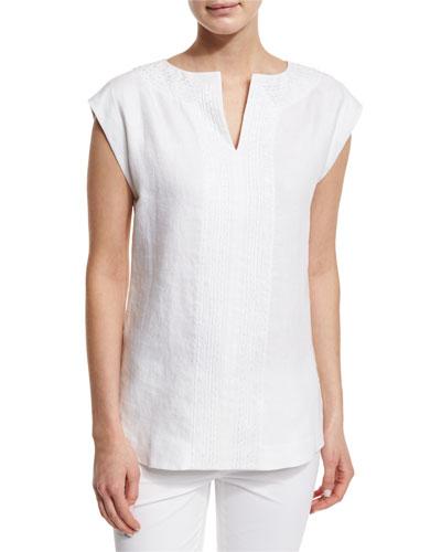 Joanie Short-Sleeve Linen Blouse