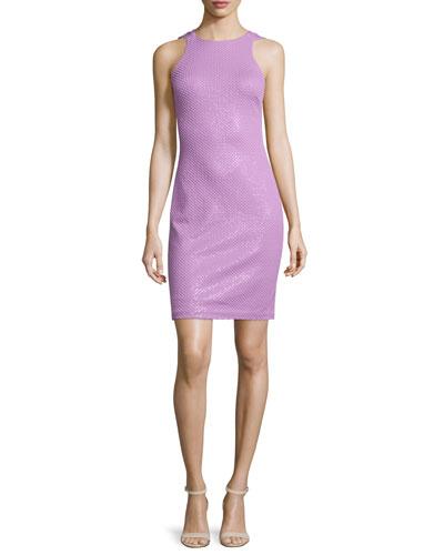 Sleeveless Jewel-Neck Ponte Dress, Dark Tulip