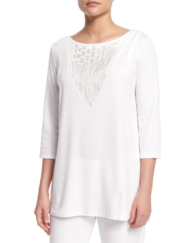 3/4-Sleeve Embroidered Top, White