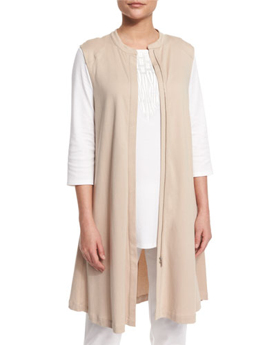 Easy Luxe Pima Cotton Long Zip-Front Vest, Plus Size