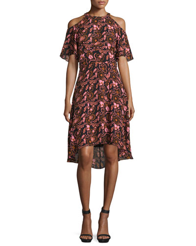 Emile Floral Silk Cold-Shoulder Dress, Black/Henna/Pink