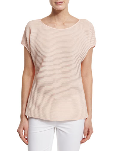 Nadette Pleated Boat-Neck Blouse, Aura