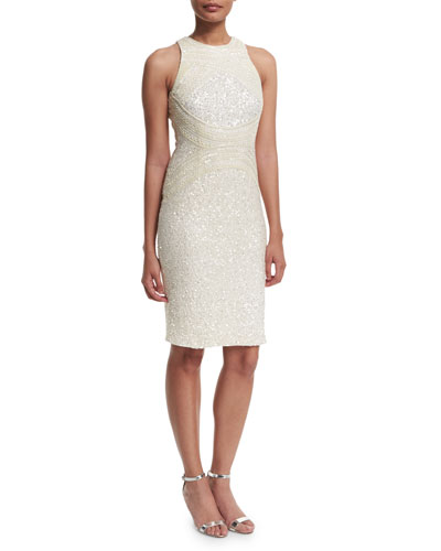 Aubree Embellished Sheath Dress, Ivory