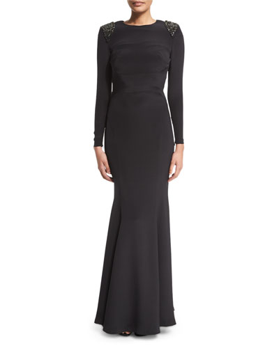 Starla Embellished-Shoulder Gown, Black