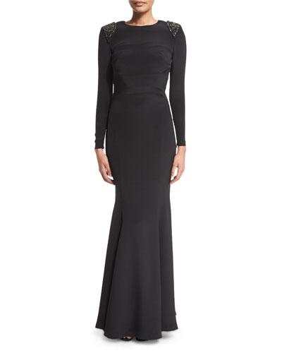 Starla Embellished-Shoulder Gown, Black