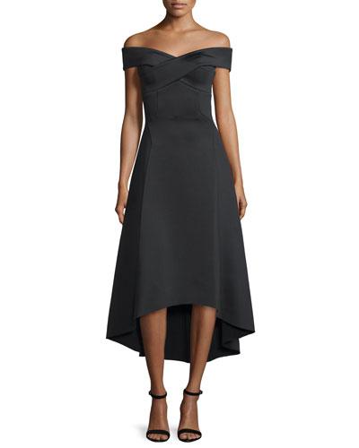 Enico Off-The-Shoulder Dress, Black