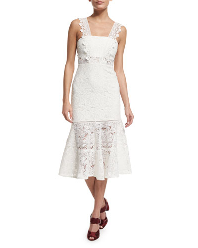 Bojana Sleeveless Lace Midi Dress, White