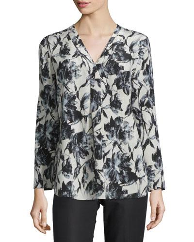 Libby Long-Sleeve V-Neck Printed Blouse, Black Multi