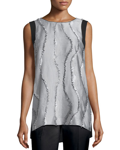 Sasha Sleeveless Printed-Front Blouse