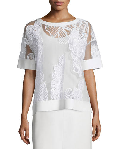 Short-Sleeve Floral-Embroidered Top
