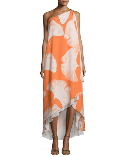 One-Shoulder Printed Gown, Terracotta