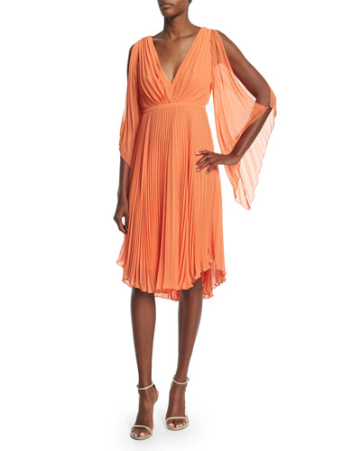 Cold-Shoulder Pleated Dress, Mandarin