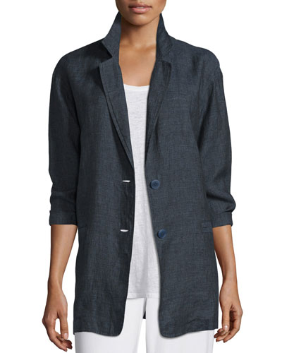 Organic Linen One-Button Long Blazer, Petite