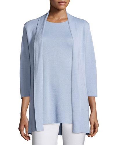 3/4-Sleeve Silk/Organic-Cotton Jacket, Delfina