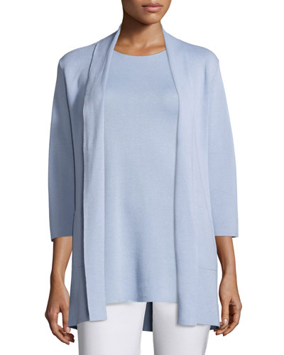 3/4-Sleeve Silk-Cotton Interlock Cardigan, Delfina, Plus Size