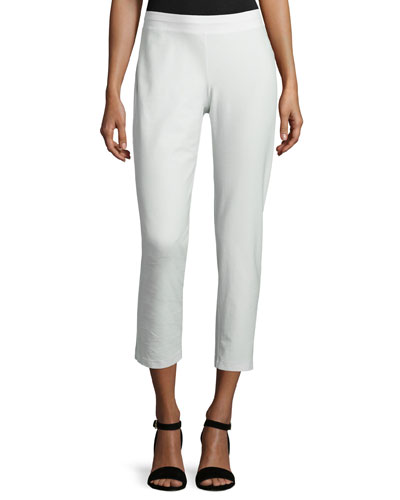 Washable Stretch-Crepe Ankle Pants, Bone, Plus Size