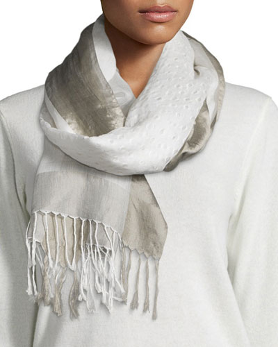 Hand-Loomed Silk/Organic Cotton Scarf W/ Openings