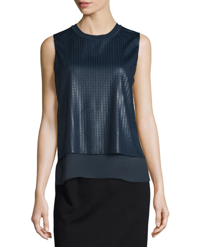 Sleeveless Textured-Mesh Double-Layer Blouse