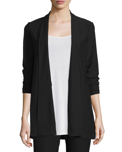 Washable Stretch Crepe Long Jacket