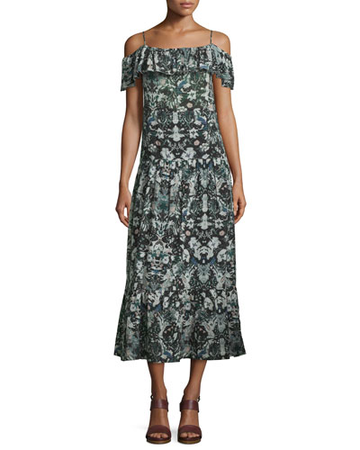 Yonelia Floral Ruffle-Trim Midi Dress, Multicolor