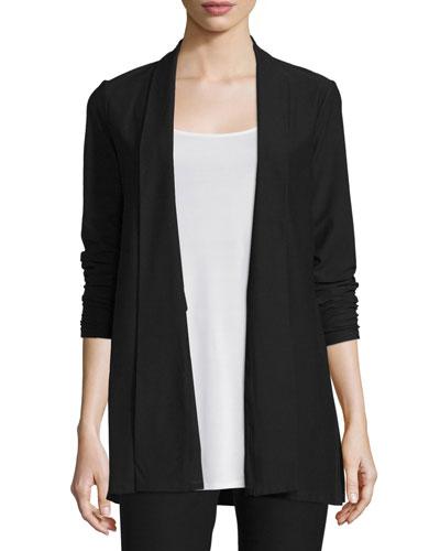 Washable Stretch Crepe Long Jacket, Plus Size