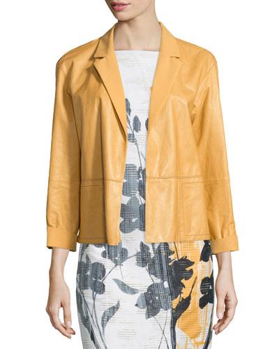 Frankie Glazed-Leather Jacket, Chamomile