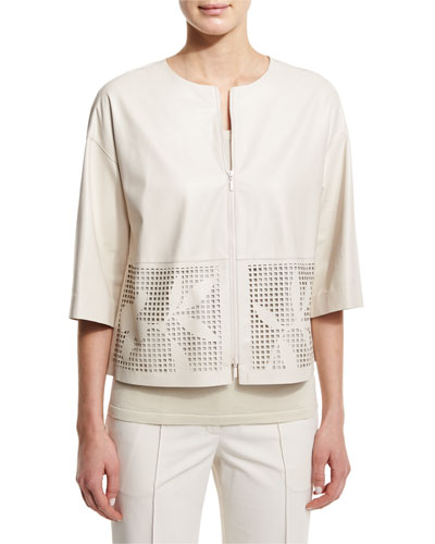 Sabina Laser-Cut Leather Short Jacket