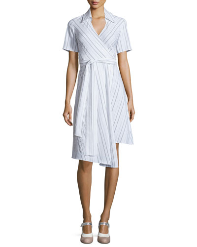 Short-Sleeve Vivien Cotton-Blend Shirtdress, Black/White