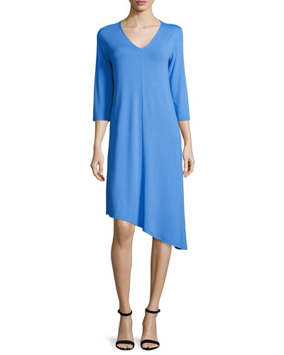 3/4-Sleeve Asymmetric Jersey Dress, Plus Size