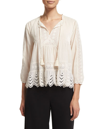3/4-Sleeve Cotton Voile Eyelet Top, Cream