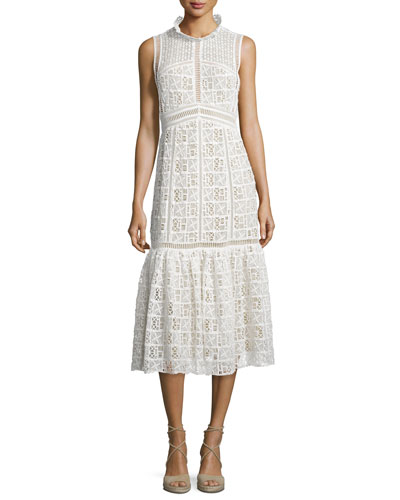 Sleeveless Crochet-Lace Midi Dress, Off White