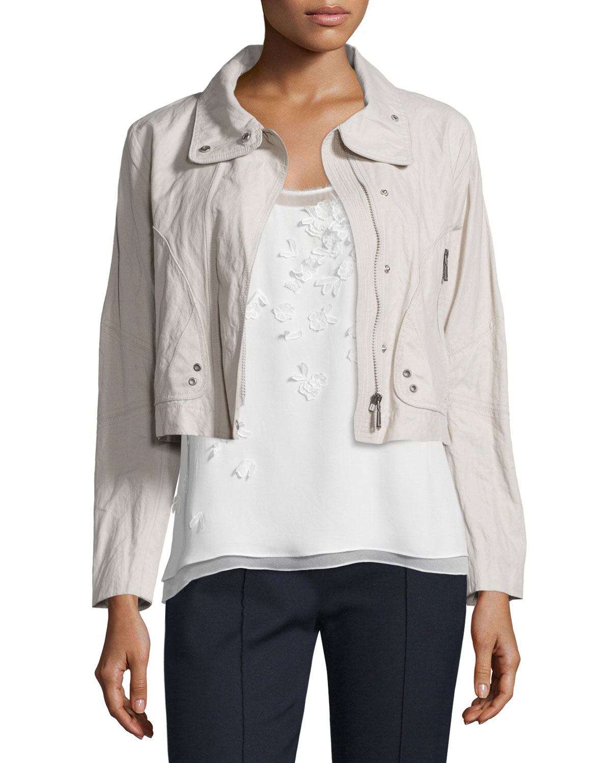 Ripley Zip-Front Cropped Jacket, Macrame