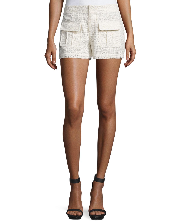 Margarida Geometric Lace Shorts, Antique White