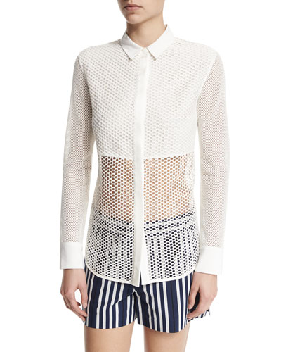 Luna Long-Sleeve Mesh Top, White