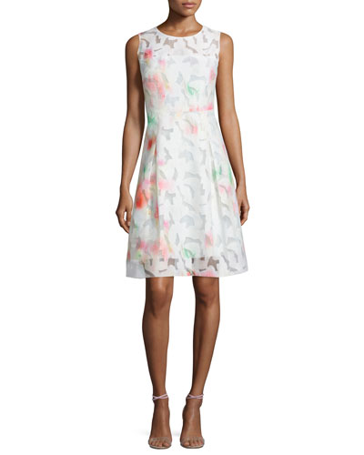 Dorinda Sleeveless Round-Neck Dress. Flash