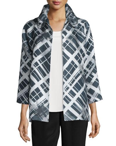24/7 3/4-Sleeve Mid-Length Plaid-Print Jacket, Petite