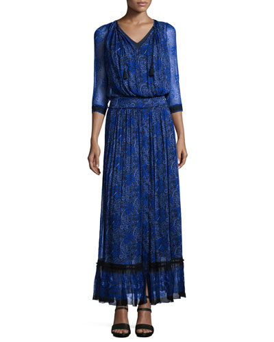 Amber 3/4-Sleeve Floral-Print Maxi Dress, Seabed