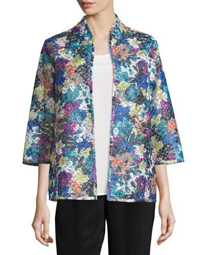 Embroidered Easy-Fit Organza Jacket, Petite