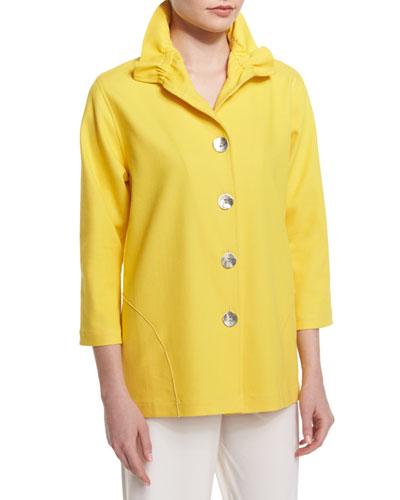 3/4-Sleeve Stretch Denim Jacket, Yellow
