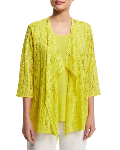 Siesta Mesh Mid-Length Cardigan, Yellow, Plus Size