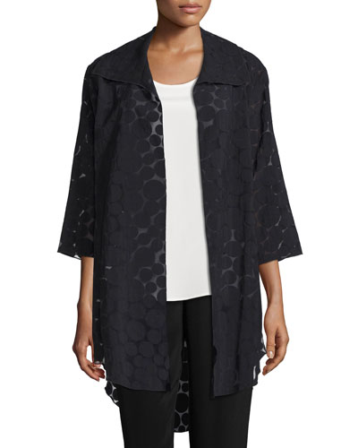 Sheer Dot Long Shirt Jacket, Black
