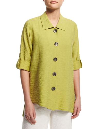 Cabo Crinkled Mid-Length Shirt, Kiwi