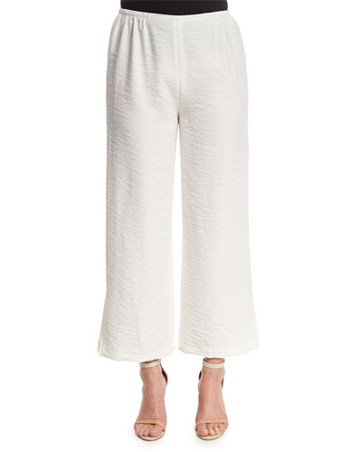 Cabo Crinkled Ankle Pants, White