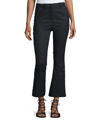 Cropped Flare Linen-Blend Trousers, Black