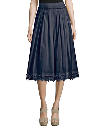 Pleated Lace-Trim Cotton Midi Skirt, Midnight